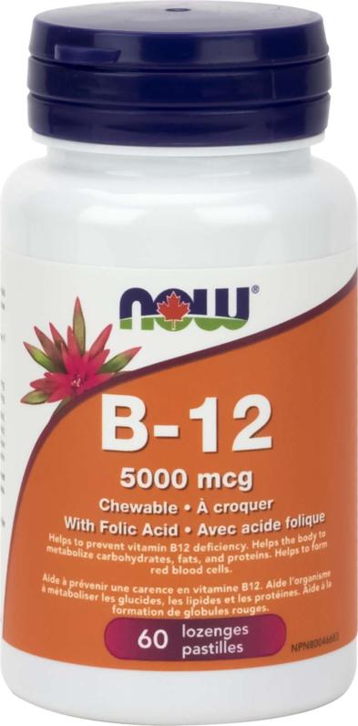 B-12 5,000mcg + Folic Acid 60Loz
