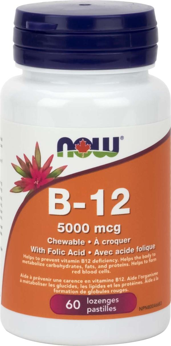 B-12 5000mcg + Folic Acid 60Loz