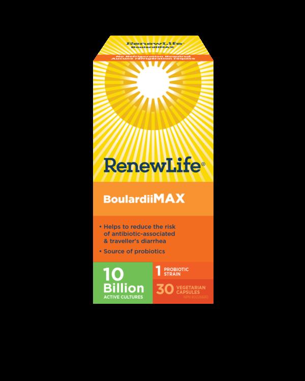 Renew Life® BoulardiiMAX, Antibiotic-Associated diarrhea, Travel Support Probiotic, 10 Billion Active Cultures, 30 Capsules