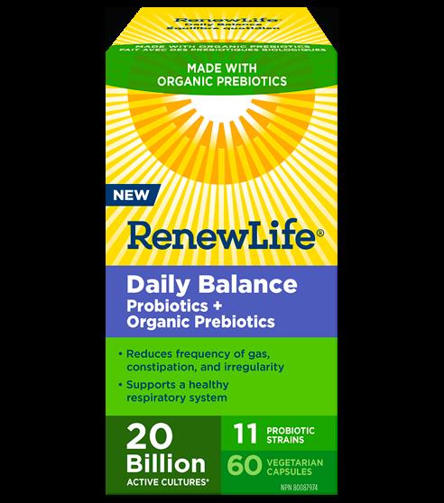 Daily Balance Probiotics + Organic Prebiotics, 20 Billion Active Cultures* , 60 Capsules
