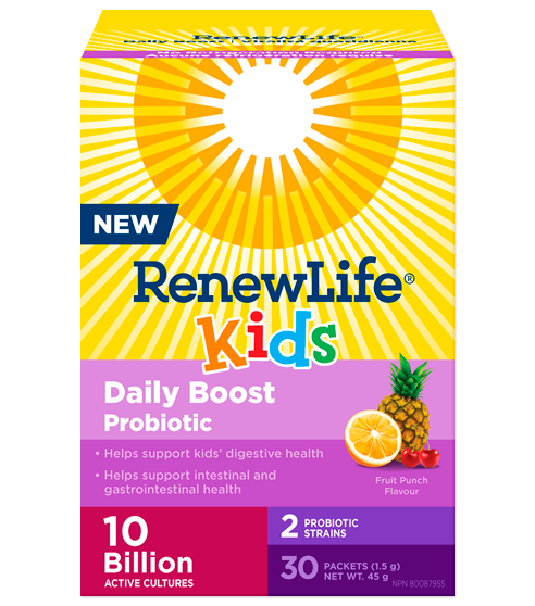 Renew Life® Kids Daily Boost Probiotic, Fruit Punch Flavour, 10 Billion Active Cultures, 30 Packets