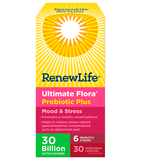 Ultimate Flora® Probiotic Plus Mood & Stress, 30 Billion Active Cultures, 30 Capsules
